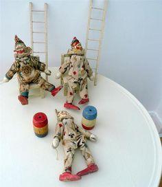 Antique Schoenhut Humpty Dumpty Circus - 3 Clowns, Ladders, Tubs, Chairs