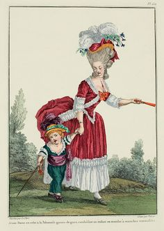 Young Lady in a robe à la Polonaise trimmed with gauze, escorting a child in a matelot with turned up sleeves. (1780)