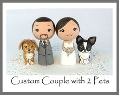 omg  Custom Wedding Cake Toppers with 2 Pets by licoricewits on Etsy, $85.00