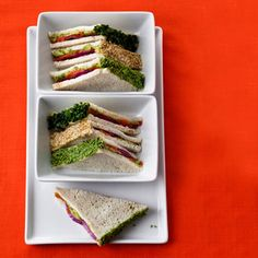 Smoked Salmon-Wasabi Tea Sandwiches    Get your omega-3s in a zesty sandwich. And who needs cheese when you have flavors from avocado, wasabi, and lime juice spicing up your sandwich?