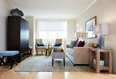 Manhattan living room featuring Gold Martini Side Table + Parsons TV Cabinet + Parsons Tiled Side Table