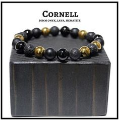 "BOYBEADS ""Cornell"" 10mm Black Onyx, Lava, Gold Hematite Mens Bead Bracelet - BOYBEADS"