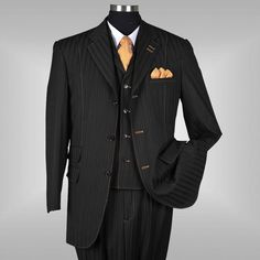 Men's 3 piece Milano Moda Elegant Stylish Classic Stripes Suit Black 5267 #MilanoModa #ThreeButton