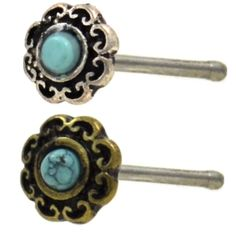 BodyDazz.com - Tribal Filigree Turquoise Center Nose Ring Stud 20G