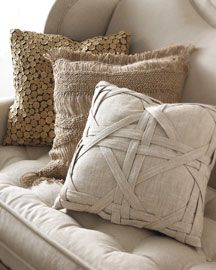 Neutral monotone pillows w/ texture contrast... love