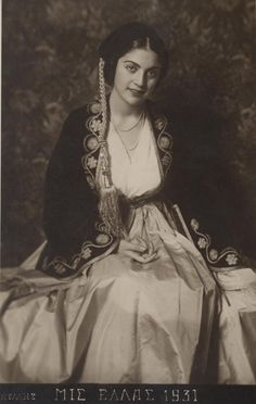 Photo of Aliki Diplarakou (Miss Hellas with Amalia costume by Nelly' s Old Greek, Greek Art, Greek Traditional Dress, Traditional Outfits, Queen Costume, Folk Costume, Rare Photos, Old Photos, Empire Ottoman