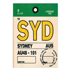 BuyNick Cranston - Luggage Labels: Sydney Unframed Print with Mount, 40 x 30cm Online at johnlewis.com