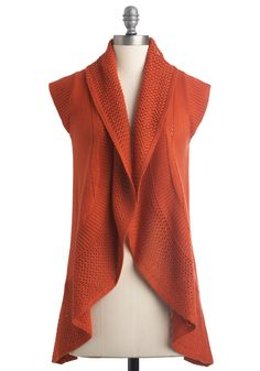 Wouldn't Knit Be Nice? Vest - Casual, 70s, Orange, Solid, Knitted, Cap Sleeves, Fall, Long