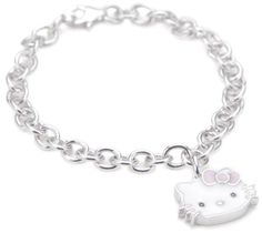 """Hello Kitty Pink Enamel Bow and Sterling Silver Charm Bracelet,7"""": Jewelry: Amazon.com $95.00"""
