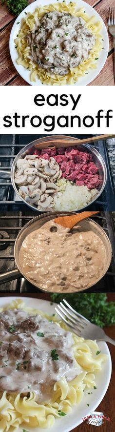 Easy 4 step homemade stroganoff is a delicious dinner recipe!