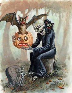 Skull, bat, pumpkin, cat