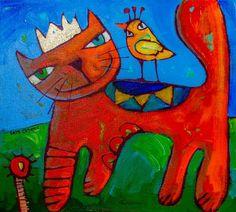Titre de l'image : Sara Catena - Ginger And The Lovebird 1 Easy Canvas Painting, Canvas Art, Pop Art, Art Fantaisiste, Chicken Art, Collage Design, Art Et Illustration, Naive Art, Whimsical Art