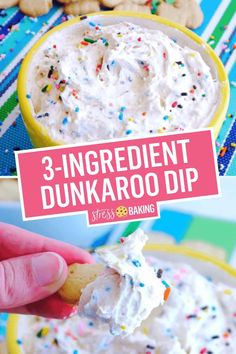 Dunkaroo dip is a homemade version of the classic childhood treat. Easy, funfetti flavored dip that's perfect for animal cracker dunking! Cake Mix Dip, Cake Batter Dip, Easy Desserts, Delicious Desserts, Yummy Food, Dessert Dips, Dessert Recipes, Cake Recipes, Dunkaroo Dip