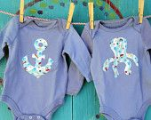 anchor....Baby Onesie Set, Transportation Theme, Hand-dyed Green and Orange Bodysuit, Airplane and Car, 12 month, READY-TO-SHIP. $28.00, via Etsy.