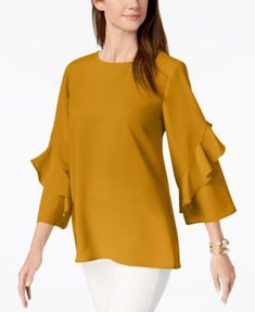 business attire Ruffled-Sleeve Zip-Back Top, Created for Macy's Kurti Sleeves Design, Sleeves Designs For Dresses, Business Professional Attire, Business Attire, Business Fashion, Camisa Formal, Stylish Dress Designs, Mode Hijab, Ruffle Sleeve