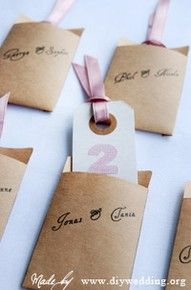 table number cards in envelopes