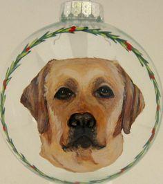 Yellow Lab Pet Portrait Ornament Painting Dog Art Pet by petzoup, $27.50