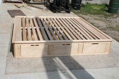 diy Bed Frame high - Solid Hardwood Low Platform Bed or Tatami Bed with drawers, natural color Bed Frame With Drawers, Bed Frame With Storage, Bed Storage, Bedroom Storage, Low Platform Bed, Platform Bed With Storage, Lit Plate-forme Diy, Tatami Bed, Hardwood Furniture