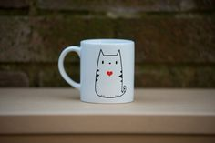 Cuore del simpatico gatto rosso stampa tazza di poussepoussecitron