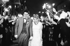 Bride & Groom Sparkler exit - A Vintage Inspired DIY London Pub Wedding With Bride In A Handmade Silk Gown And Bridesmaids In Emerald Green With Groom In Tweed Suit By Marc Wallace And Images From Tarah Coonan