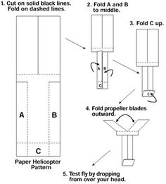 Pattern works great.  Best if you have somewhere tall to drop it from.    pattern for paper helicopter