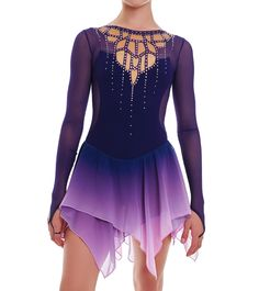 Dress for figure skating Sea of ​​Dreams - buy in the Dancing online store Figure Skating Outfits, Figure Skating Costumes, Figure Skating Dresses, Cute Dance Costumes, Roller Derby, Gymnastics Leotards, Dance Outfits, Lace Tops, Designer Dresses
