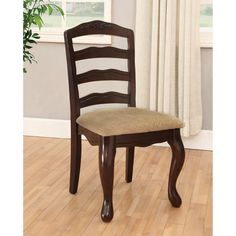 Furniture of America Le Deveaux Dark Walnut Dining Chairs