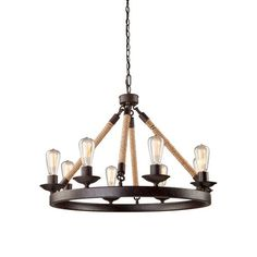 The Danbury Collection by CobiStyle (Cobi Ladner) features a bronze framed fixture, with rope wrapped arms. (Edison bulb shown to influence the look). 8 Light fixture