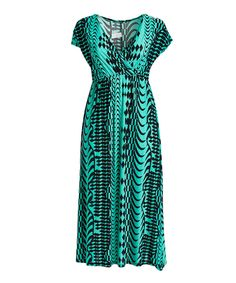 Take a look at this Black & Green Surplice Maxi Dress - Plus Too today!