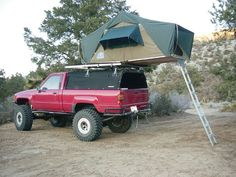 Soft top with rooftop tent Toyota Pickup 4x4, Toyota Trucks, Lifted Ford Trucks, 4x4 Trucks, Off Road Camping, Camping Gear, 1st Gen 4runner, Camper Tops, Build A Camper Van
