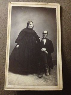 Vintage CDV Large Woman in Big Black Dress w Arm on Littler Man Photo Picture | eBay