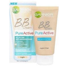 Garnier Pure Active Light BB Cream (50ml) (59 BRL) ❤ liked on Polyvore featuring beauty products, makeup, face makeup, tinted moisturizer, garnier and garnier tinted moisturizer