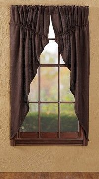 Burlap Chocolate Prairie Curtains are great for the primitive country look.  They come in a set of two and we have matching valances and panel curtains that are sold separately.  http://www.primitivestarquiltshop.com/Burlap-Chocolate-Prairie-Curtains_p_5548.html  $35.95