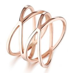 Brand Women Hollow Out Ring Stainless Steel Jewelry Ip Rose Gold Charming
