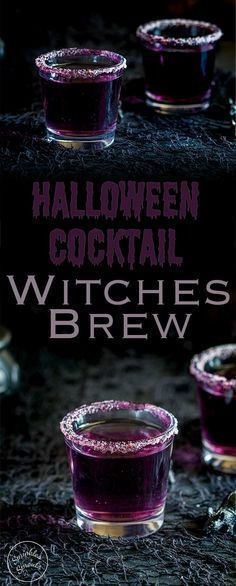 This 'Witches Brew'- halloween cocktail is so stunning. Based on a Purple Hooter, the vivid colour is dramatically beautiful, but with a dark eerie feel perfect for a halloween party. Recipe from Sprinkles and Sprouts Delicious food and drink for easy e Halloween Snacks, Cocktails Halloween, Soirée Halloween, Hallowen Food, Holiday Drinks, Halloween Cupcakes, Halloween Shots, Adult Halloween Drinks, Halloween Food For Adults