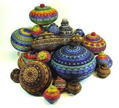 Native American beaded pots