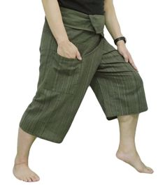 3fa8303af81 Thai Fisherman Pants Yoga Trousers Free Size 3 4 Cotton Stripe-Olive Green.