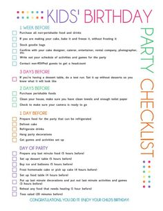 kids birthday party checklist page 1