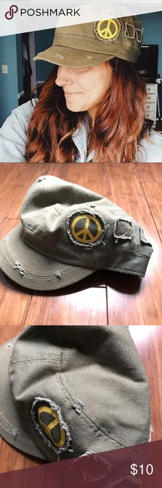 ✨JUST IN✨ ✌beat up peace cap Elastic back  Vintagey look  Olive green  Yellow peace sign  Hard brim  And so cool   100% cotton   Hey friend! ✌ no trades unless stated in description  pet friendly home  ✨don't forget to bundle & SAVE always with love from my closet to yours Accessories Hats