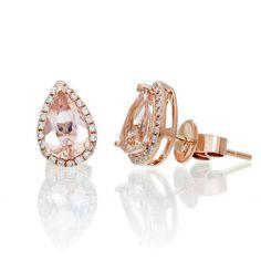 aee6bf7f 14 Karat Rose Gold 8x5mm Pear Cut Morganite Diamond Halo Solitaire Stud  Earrings