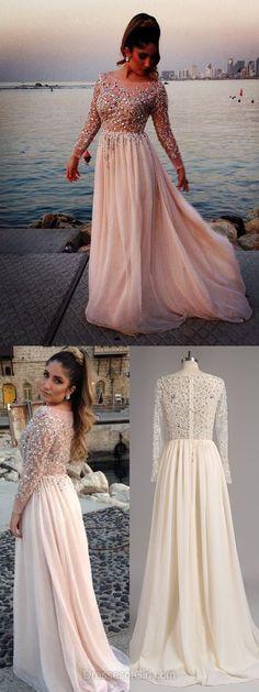 Pink Prom Dresses, Long Sleeve Formal Dresses, Fabulous long Party Dresses, Chiffon Evening Gowns, Modest Women Dresses