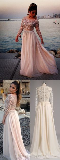 Scoop Neck Pearl Pink Chiffon Beading Long Sleeve Fabulous Prom Dress