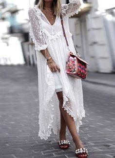 Polka Dot V-Neckline Long Sleeve Maxi Shift Dress - Floryday White Maxi Dresses, Day Dresses, White Dress, Summer Dresses, White Tulle, Summer Outfits, Ladies Dresses, Vacation Dresses, Casual Dresses