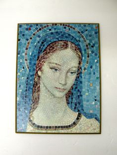 Madonna Icon Mosaic Stained Glass For Sale Russian Icon Jesus Christ Religion Christianity Blue Old Gold Cross