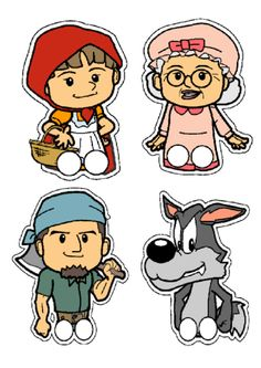 , a set of Little Red Riding Hood finger puppets, just laminate and cut out. They are great for retelling the story Paper Puppets, Hand Puppets, Finger Puppets, Red Riding Hood Story, Little Red Ridding Hood, Toddler Preschool, Preschool Crafts, Fairy Tale Activities, Psychedelic Drawings