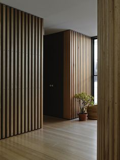 Melbourne based firm, Kennedy Nolan Architects restoration of an inner city home in an highly exposed site bound by street, lane and park on three sides. Timber Battens, Timber Screens, Timber Cladding, Wood Slats, Interior Cladding, Interior Architecture, Modern Interior, Timber Feature Wall, Kennedy Nolan