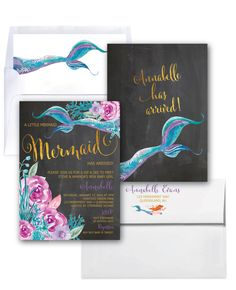 Mermaid Baby Shower Invitation // Under the Sea by MerrimentPress Mermaid Baby Showers, Baby Mermaid, Baby Shower Fun, Mermaid Birthday, Girl Shower, Baby Shower Themes, Baby Shower Decorations, Shower Ideas, Sip And See Invitations