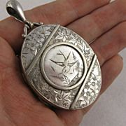 Large Antique Victorian Aesthetic Movement Engraved Locket, Silver Plate