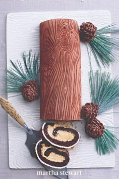 Made extra merry by a wood-grain fondant finish and molded chocolate pinecones, this creative yule log is the ultimate centerpiece for a holiday table and a festive and delicious dessert. #marthastewartliving #holidaydessert #easydessertrecipe #easyrecipes Cake Cookies, Cupcake Cakes, Cupcakes, Holiday Desserts, Holiday Treats, Christmas Fun, Christmas Cookies, Gingerbread Cheesecake, Mushroom Decor