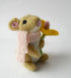 needle felted mouse soft by TreacherCreatures
